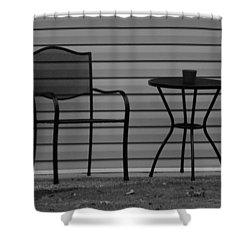 The Patio Chairs In Black And White Shower Curtain by Rob Hans