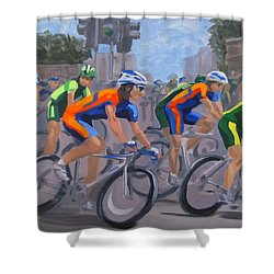Shower Curtain featuring the painting The Peloton by Karen Ilari