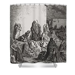 The People Mourning Over The Ruins Of Jerusalem Shower Curtain by Gustave Dore
