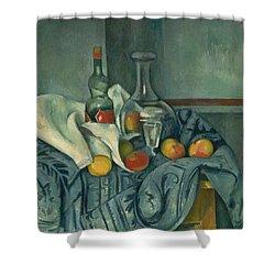 The Peppermint Bottle Shower Curtain by Paul Cezanne