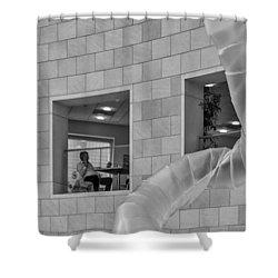 The Phone Call Shower Curtain by Lynn Palmer