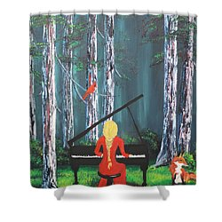 The Pianist In The Woods Shower Curtain by Patricia Olson