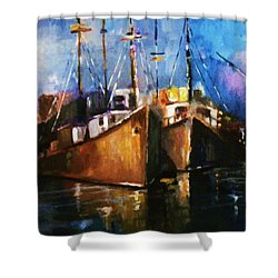 The Pier At Sunset Shower Curtain by Al Brown