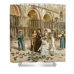 The Pigeons Of St Mark S Shower Curtain