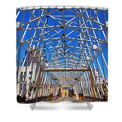 The Pike In Long Beach Shower Curtain by Mariola Bitner