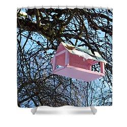 The Pink Bird Feeder Shower Curtain by Ausra Huntington nee Paulauskaite