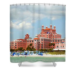 The Pink Palace Shower Curtain by Valerie Reeves
