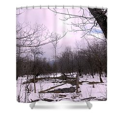 The Pink Winter Light On The Mountain Top Shower Curtain by Patricia Keller