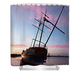 The Pirate Ship Shower Curtain by Barbara McMahon