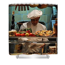 The Pizza Maker Shower Curtain by Mary Machare