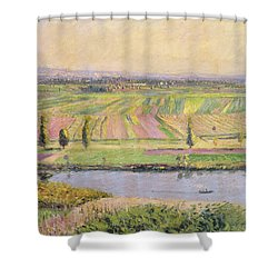 The Plain Of Gennevilliers From The Hills Of Argenteuil Shower Curtain by Gustave Caillebotte