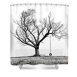 Shower Curtain featuring the photograph The Playmate - Old Tree And Tire Swing On An Open Field by Gary Heller
