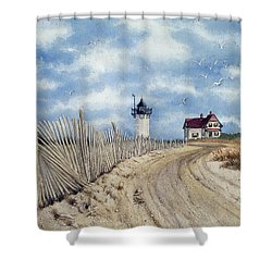 The Pole Line To Race Point Light Shower Curtain