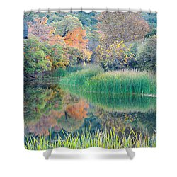The Pond At Lost Maples State Natural Area - Texas Hill Country Shower Curtain