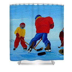 The Pond Hockey Game Shower Curtain by Anthony Dunphy