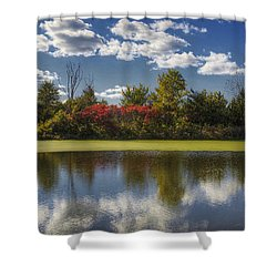 The Pond In Autumn Shower Curtain