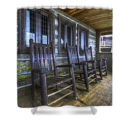 The Porch Shower Curtain by Debra and Dave Vanderlaan