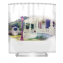 The Porch Lamp Post And The Gate Shower Curtain by Becky Lupe