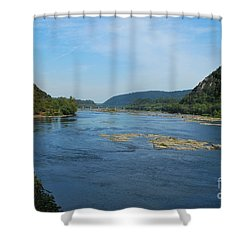 Shower Curtain featuring the photograph The Potomac River At Harper's Ferry by Bob Sample