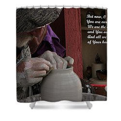 The Potter's Hand Shower Curtain by Natalie Ortiz