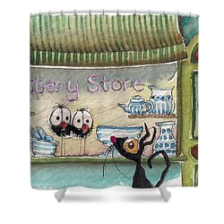 The Pottery Store Shower Curtain by Lucia Stewart