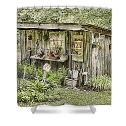 The Potting Shed Shower Curtain by Heather Applegate