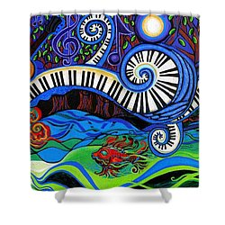 The Power Of Music Shower Curtain by Genevieve Esson