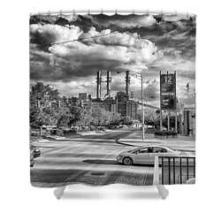 Shower Curtain featuring the photograph The Power Station by Howard Salmon