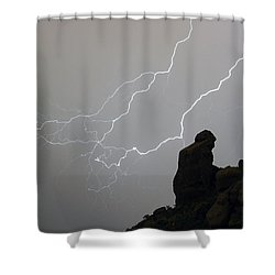 The Praying Monk Lightning Storm Chase Shower Curtain by James BO  Insogna