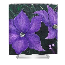 Shower Curtain featuring the painting The President Clematis by Sharon Duguay