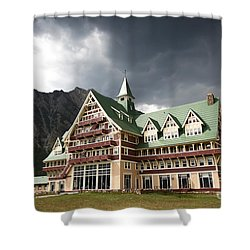 The Prince Of Wales Hotel Waterton Lakes Np  Shower Curtain by Teresa Zieba