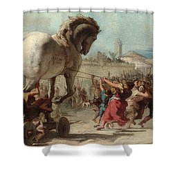 The Procession Of The Trojan Horse Into Troy Shower Curtain