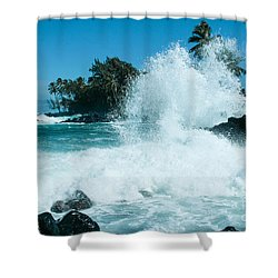 The Promise From The Lotosgardens Beyond The Sunset  Shower Curtain by Sharon Mau