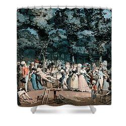 The Public Promenade Shower Curtain by Philibert-Louis Debucourt