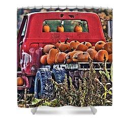 The Pumpkin Hauler Shower Curtain by Sonya Lang