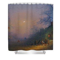 A Hobbits Halloween. The Pumpkin Seller. Shower Curtain by Joe Gilronan