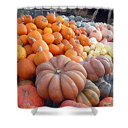 Shower Curtain featuring the photograph The Pumpkin Stand by Richard Reeve