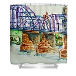 The Purple People Bridge Shower Curtain