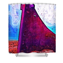 The Purple Pink Wedge Shower Curtain by Kirt Tisdale