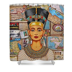 Shower Curtain featuring the painting The Queen Of Amarna by Joseph Sonday
