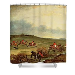 The Quorn In Full Cry Near Tiptoe Hill Shower Curtain by John E Ferneley