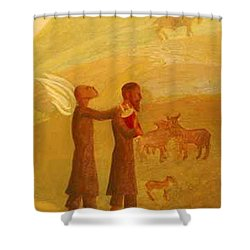 The Rabbi Leading The Angel Shower Curtain