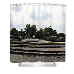 Shower Curtain featuring the photograph The Railroad From The Series View Of An Old Railroad by Verana Stark