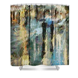 Shower Curtain featuring the painting The Rain In Paris by Dragica  Micki Fortuna