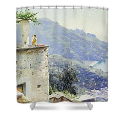 The Ravello Coastline Shower Curtain by Peder Monsted