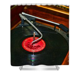 The Record Player Shower Curtain by Paul Ward