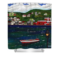 The Red And White Fishing Boat Carenage Grenada Shower Curtain