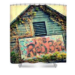 The Red Bar Shower Curtain by Toni Abdnour