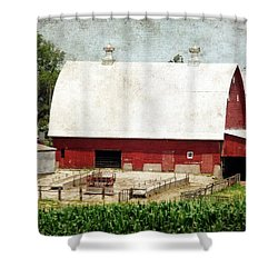 The Red Barn Shower Curtain by Cassie Peters