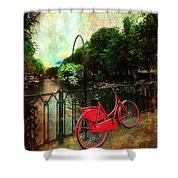 The Red Bicycle Shower Curtain by Randi Grace Nilsberg